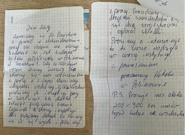 Anonimowy list, którego autor opowiada o warunkach na budowie hotelu (Stop Nieuczciwym Pracodawcom)