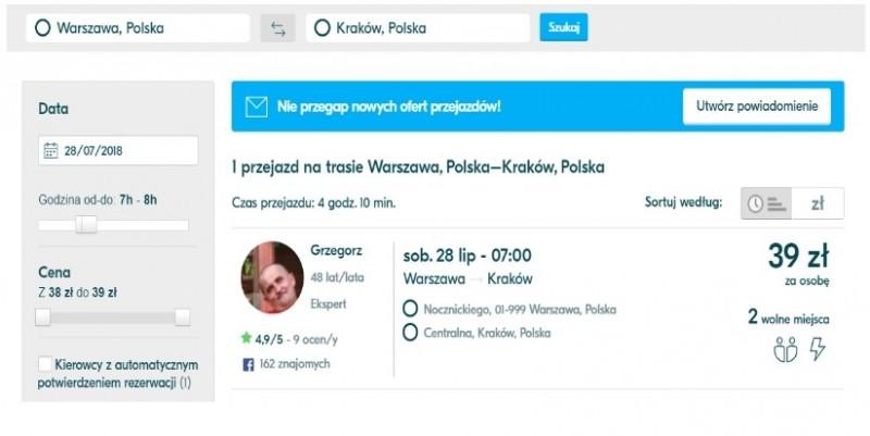 Blablacar, printscreen Warszawa - Kraków, 28.07.2018