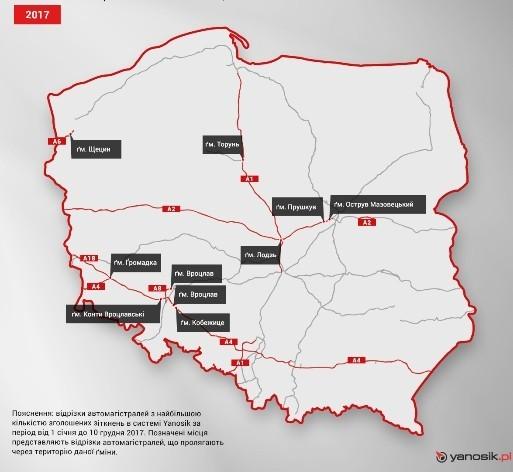Найнебезпечніші відрізки автомагістралей в Польщі