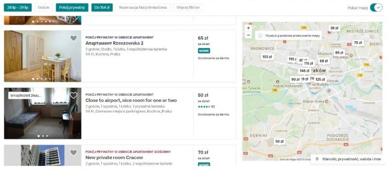 Airbnb, printscreen Kraków, 28 - 29.07.2018