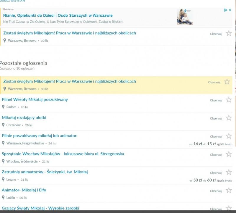 Скриншот сайта Olx.pl с вакансиями Миклаев и Санта-Клаусов