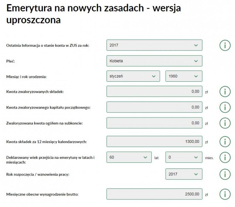 Screen shot, ZUS, kalkulator emerytalny