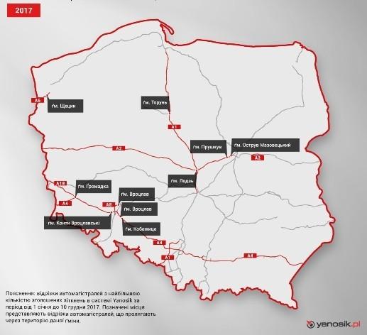 Самые опасные отрезки автомагистралей в Польше