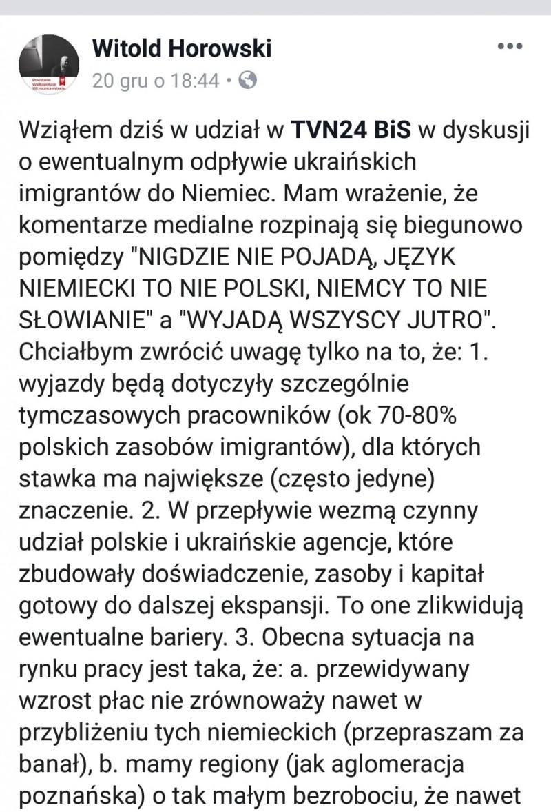 Witold Horowski, Facebook, screenshot
