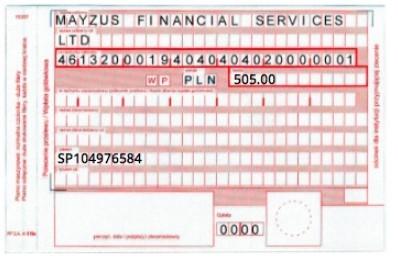 Образец  заполнения квитанции
