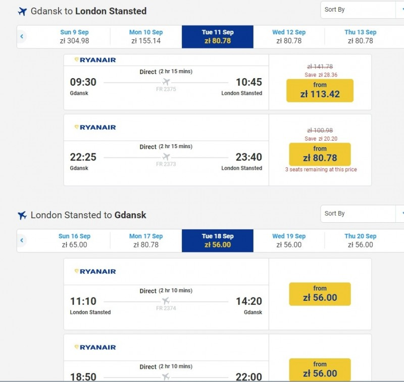 Screen shot Ryanair